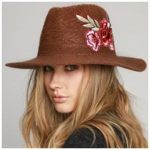 Accessories - Panama Hat with Rose Embroidered Patch NEW